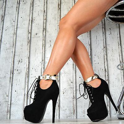 Neu Luxus Damen Schuhe Stiefeletten High Heels Ankle Party Pumps SeXy  Plateau e149fe6df2