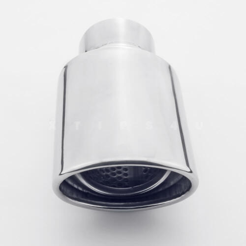 """4/""""x3.15/"""" Oval Out 2.5/"""" Inlet Exhaust Tip Stainless Steel Rolled Outlet Slant Cut"""