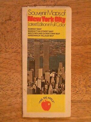 Subway Map Greenwich Village.Souvenir Map New York City World Trade Center Subway Manhattan Greenwich Vintage Ebay