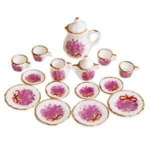 Lot-of-15-Purple-Flower-Porcelain-Dollhouse-Miniature-Coffee-Tea-Cup-Set-C2B6