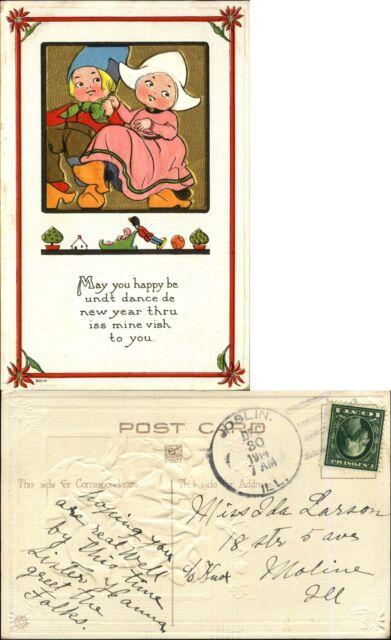 New Year ~ boy girl Dutch mailed 1914 Joslin IL four bar cancel