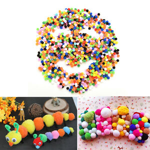 1000 Pcs DIY Mixed Color Mini Soft Fluffy Pom Poms Pompoms Ball 10mm T Du