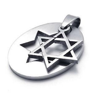 Mens-Silver-Puzzle-Lucky-Star-of-David-361L-Stainless-Steel-Pendant-Necklace