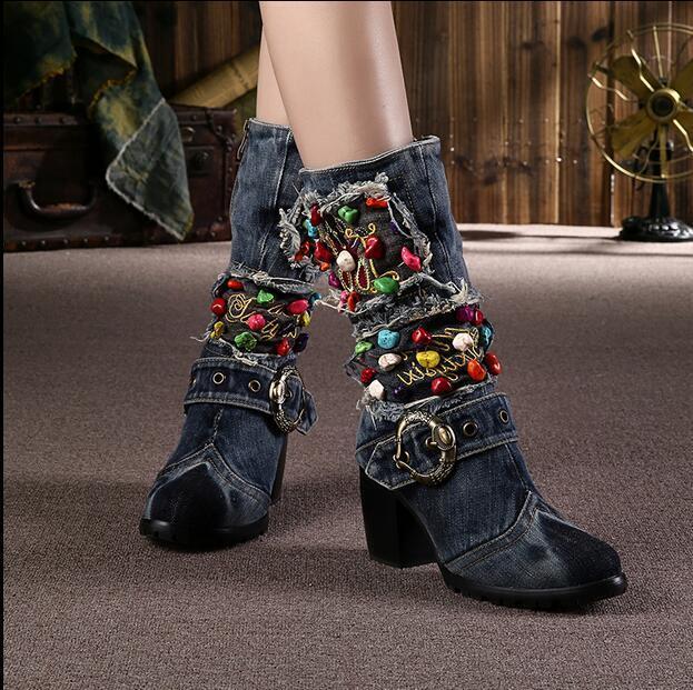 Fashion femmes Jean Cloth Block High Heel Rhinestones Mid Calf bottes Punk bottes
