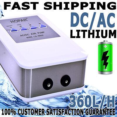 Aqua Aquarium Fish Tank AC/DC Battery Backup Silent Air Pump 2 Outlet 360L/H