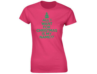 "100% Wahr All I Want For Christmas Is ""name"" Personalised Womens Funny T-shirt 12 Colours SpäTester Style-Online-Verkauf Von 2019 50%"