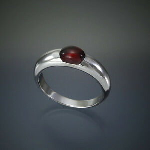 Granat-Ring-Cabochon-aus-Sterling-Silber-925