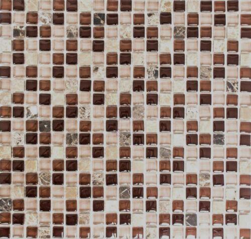 Glasmosaik Naturstein braun Wandverblender Bad Sauna WC92-1304/_f10 Matten