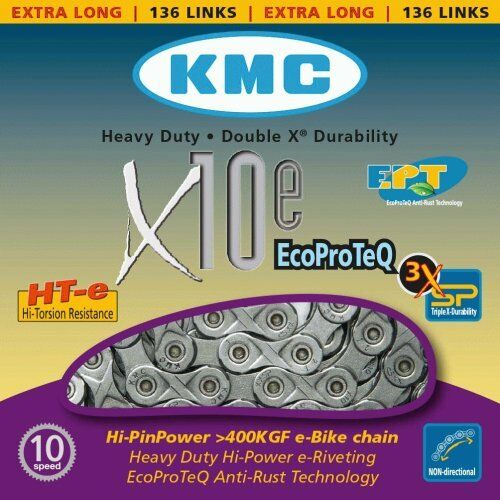 KMC E-Bike Series X10E EPT Anti Rust 10 Speed Chain 136 links Extra Long