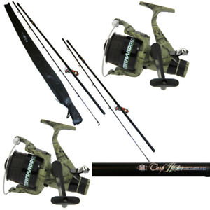 CARP FISHING SET UP 2 X 12FT CARP FISHING RODS + 2 X CARP RUNNER CAMO REELS