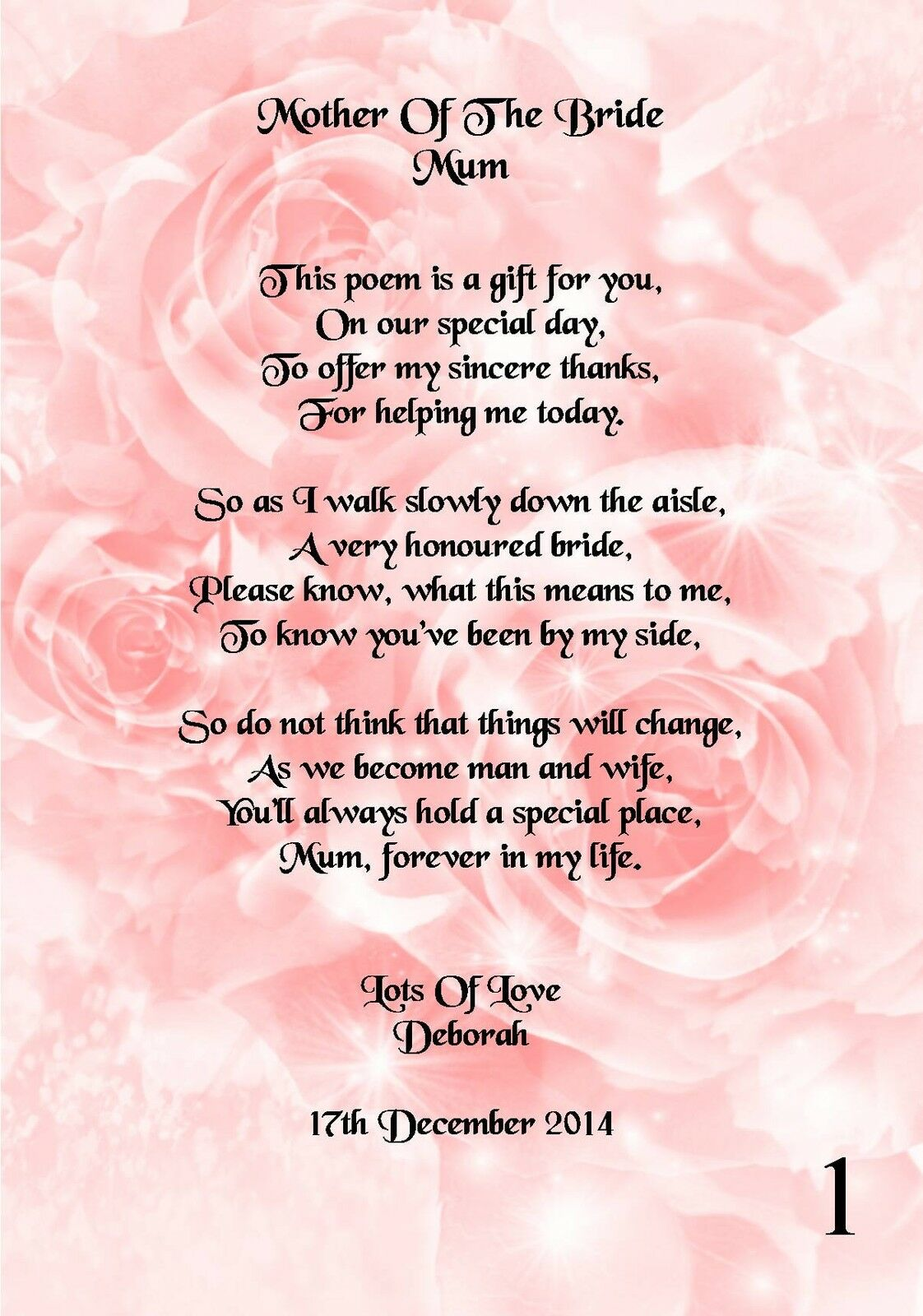 Wedding Day Thank You Gift Mother of The Bride Poem A5 Photo | eBay
