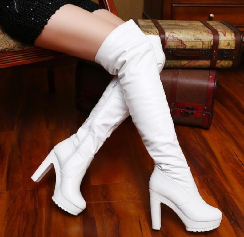 Women's Round Toe Zip Platform Block Heels Over Knee High Riding Boots Shoe Shop