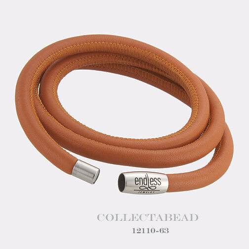 Authentic Endless Stainless Steel Coral Triple Leather Bracelet 7.5  12110-57