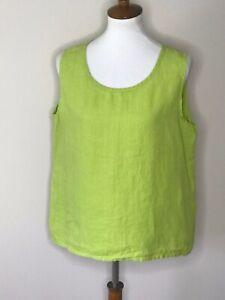 Flax-Women-039-s-Medium-Green-Sleeveless-100-Linen-Tank-Top-Shirt
