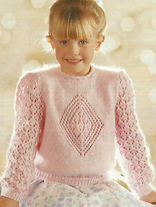 3696d84c2c4c5 Image is loading Girls-Sweater-with-Lace-Sleeves-Knitting-Pattern-DK-