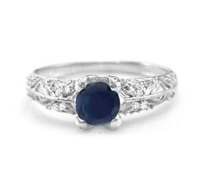 925-Sterling-Silver-Blue-Sapphire-Ring-Natural-Solitaire-Size-4-11