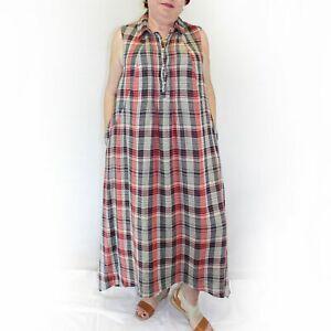 Details about Yuvita Plus Size Plaid Linen Maxi 100% Linen Shirt Dress 1X,  2X, 3X