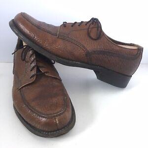 Vintage-70-s-Dacks-Water-Bison-Leather-Split-Toe-Apron-Almond-Toe-Size-10-5-D