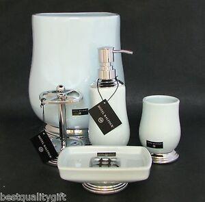 New Hotel Balfour 5pc Set Aqua Blue Soap Dispenser Dish