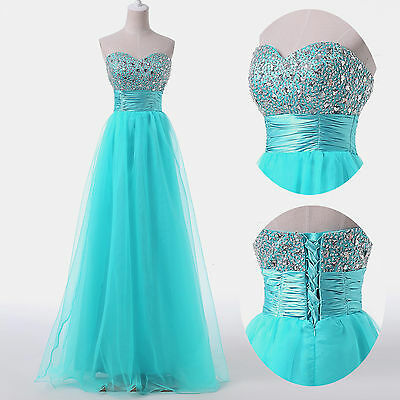 BEADED Sexy Strapless Long Evening Prom Dresses Cocktail Party Dress Ball Gowns