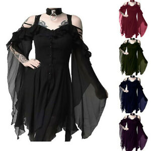 Women-039-s-Solid-Dark-In-Love-Ruffle-Sleeves-Off-Shoulder-Gothic-Midi-Solid-Dress-S