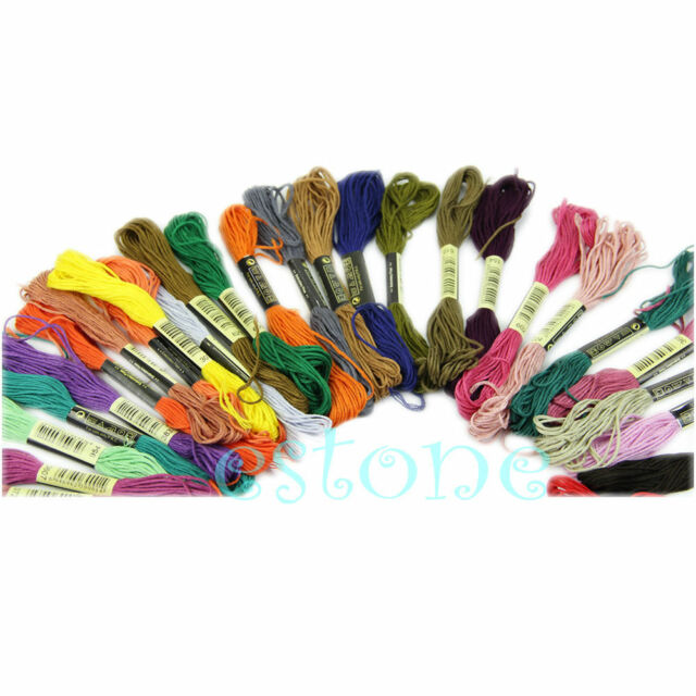 Lots 50 Cotton Cross Floss Stitch Thread Embroidery Skeins Sewing Multi-Color