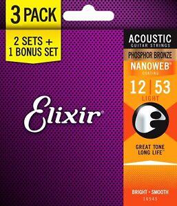 Lot-de-3-Elixir-16545-Nanoweb-Acoustic-Guitare-Strings-Light-12-53-bronze-phosphoreux
