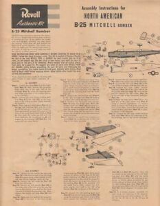 70126] 1955 REVELL KIT INSTRUCTIONS for NORTH AMERICAN B-25 MITCHELL