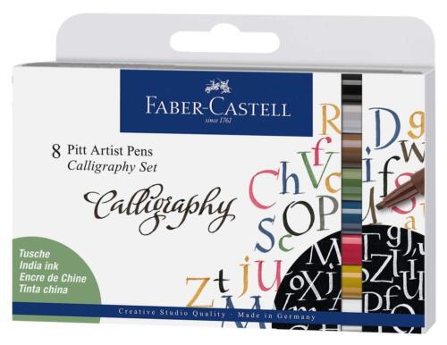 8er Etui Faber-Castell 167508 Tuschestift Pitt Artist Pen Calligraphy Set 2,5mm