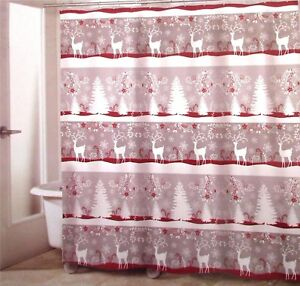 Avanti-Linens-CHRISTMAS-DEER-Fabric-Shower-Curtain-Cottage-Red-Silver-Gray-New