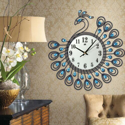 Elegant Peacock Antique Large Wall Clock Metal Living Room Wall Clock Home Decor