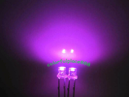 3mm Pink Flat Top Led Wide Angle Water Clear Light Bright Leds Long Pins 100pcs
