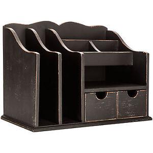 Distressed Black Wood Desk Organizer Ebay
