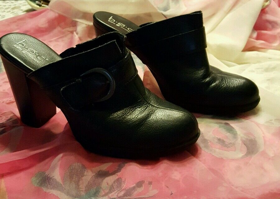 BORN O CONCEPT B.O.C. ♡  WOMEN'S LEATHER SLIP-ON CLOGS ♡ BLACK ♡ SIZE 9   40.5