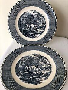 Vintage-Jeannette-Royal-China-Currier-amp-Ives-Blue-10-034-Dinner-Plate-Old-Mill
