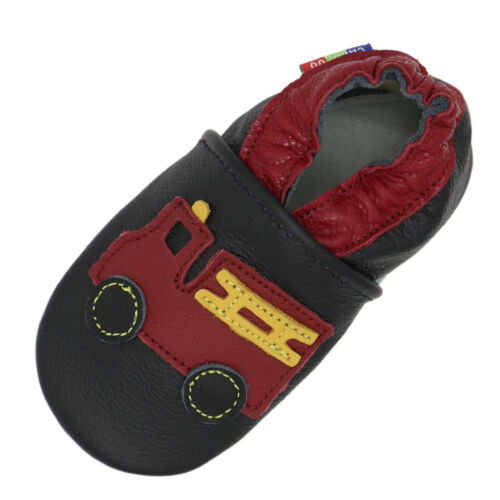 carozoo fire truck black 3-4y soft sole leather kids shoes