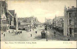 Port-Elizabeth-Suedafrika-South-Africa-1910-20-Main-Street-Strasse-Geschaefte-Bahn