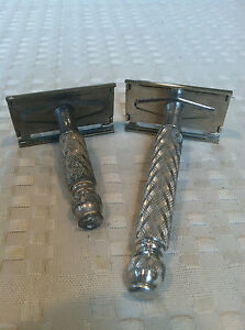 VTG-Lot-of-2-Matching-GILLETTE-BRITISH-TECH-amp-TRAVEL-TECH-Silver-Tone-Razors