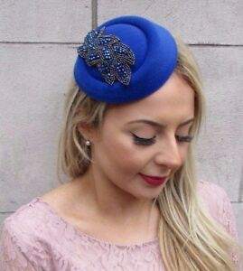 Image is loading Royal-Blue-Pillbox-Hat-Hair-Fascinator-Races-Statement- 49f8cdec524