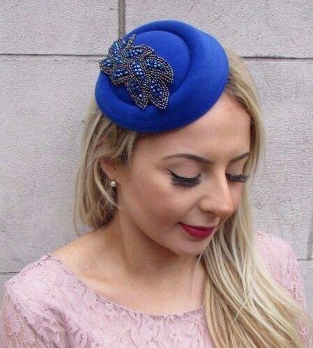 Bleu Royal Pilulier Chapeau Cheveux Fascinator races Statement Cocktail Vintage 4591