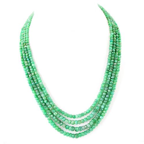 240.00 cts Earth mined ligne 4 riche vert zambien émeraude à Facettes Perles Collier