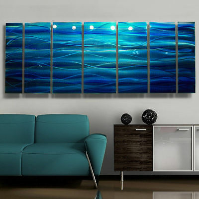 "Modern Hand Painted Blue Prismatic Metal Wall Art Sculpture ""Rhythm Of LIfe"""