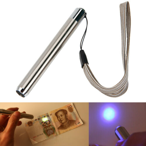 Stainless Steel Checker Mini Lamp Ultra Violet Light Led Torch UV Flashlight