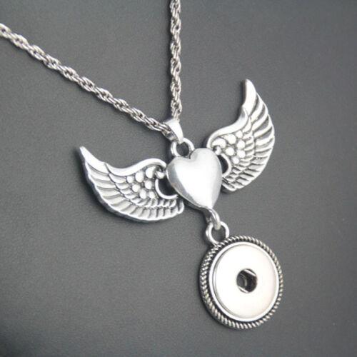 5pcs Lots Wing 18 mm Snaps Bouton Collier Pendentif Bijoux pour Femmes