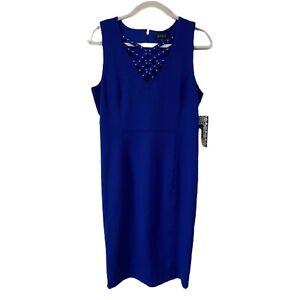 Nwt Blue Spense Midi Sheath Dress Women's Size 12 Criss Cross Studded Stretchy Fine Craftsmanship