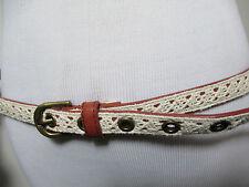 womens white skinny belt M L MEDIUM LARGE crocheted 100% cotton crochet women's