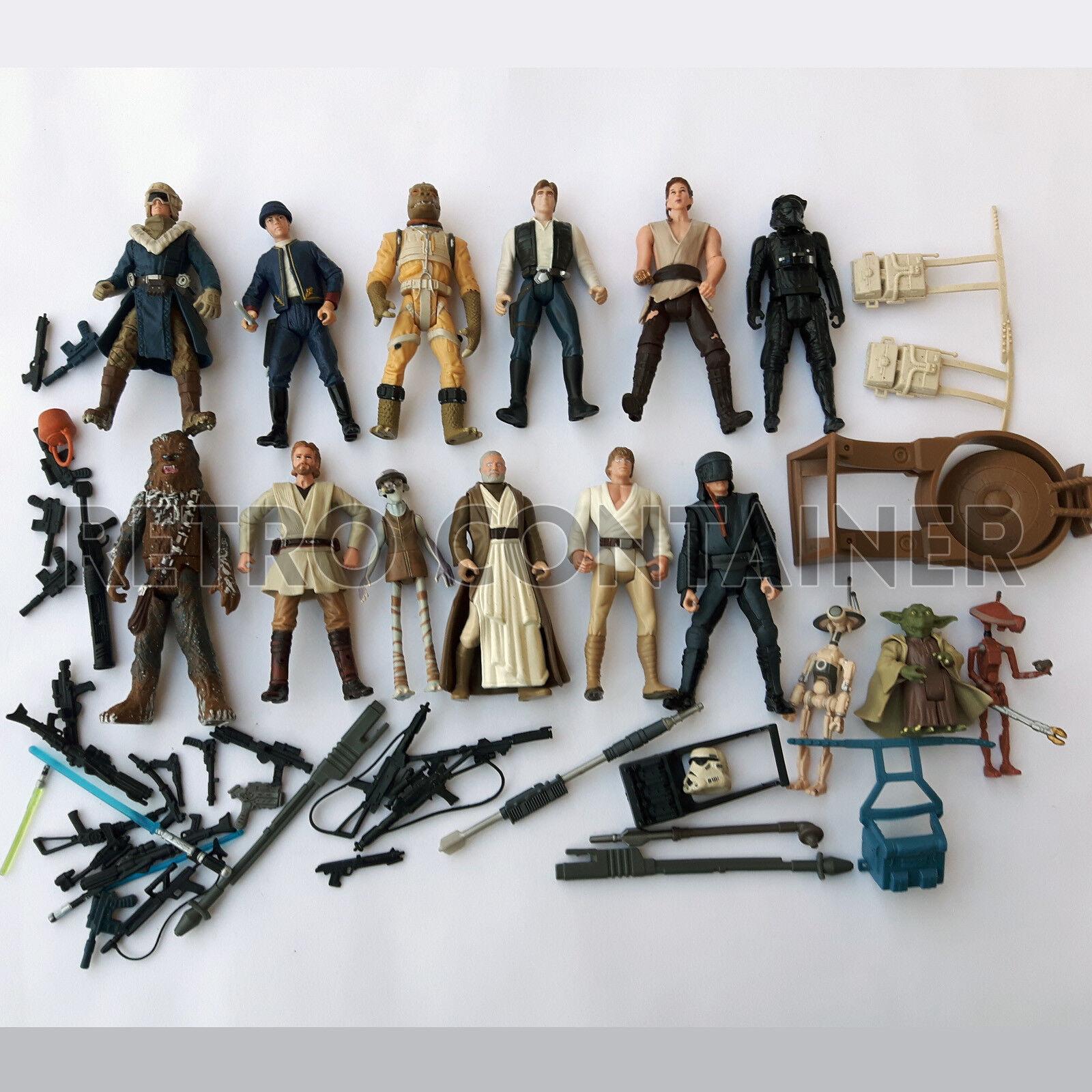 Kenner Hasbro STAR WARS Lot of vintage Action figures POTF POTJ Etc. Weapons