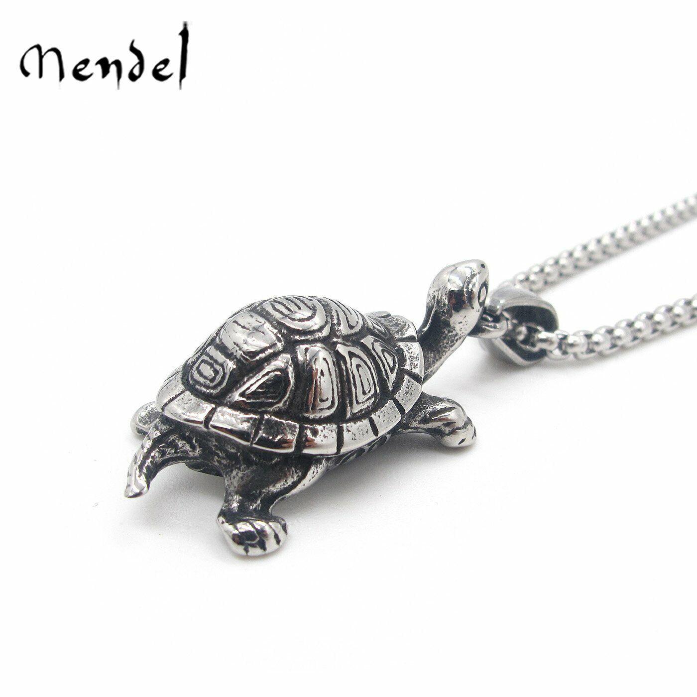 MENDEL Stainless Steel Mens Turtle Tortoise Pendant Necklace Jewelry Men Silver