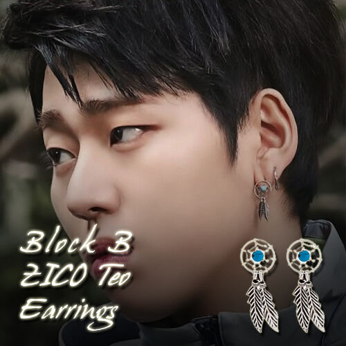 Block B Zico Teo Earrings Kpop Style Hot Item Made In Korea 1pair
