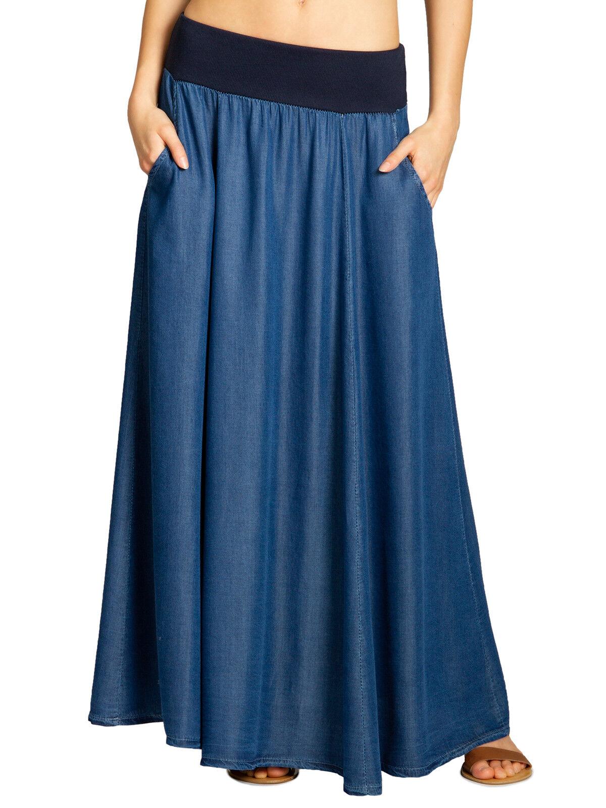CASPAR RO022 Donna Gonna Lunga Maxigonna Estiva Elegante Jeans Elastico in Vita